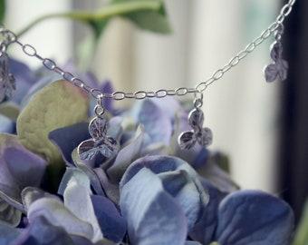 Sterling silver flower petal- hydrangea petal bracelet