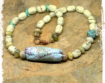 Rustic Short Stone Necklace Art Bead, Bird Fetish, Southwestern Boho Necklace, Tribal Beaded Necklace for Her,