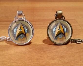 Star trek necklace, Star trek emblem, steampunk necklace, steampunk star trek, steampunk, Silver Plated, Antique Bronze (1)