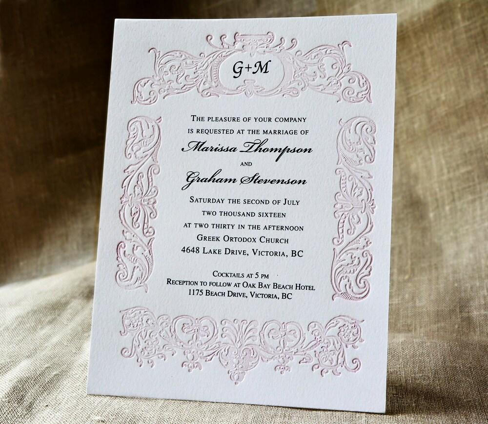 Blush Pink Wedding Invitation Suite Monogrammed Letterpress Wedding ...