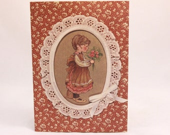 Vintage 1980 New/Old Sweet Memories Mothers Day Card and Envelope. Young Girl