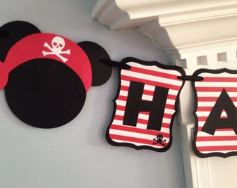 Pirate Mickey Mouse Happy Birthday Disney Banner