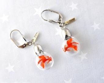 Spring Earring Zen Goldfish. Earrings tiny bottle.