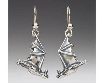 Silver Bat Earrings - Soaring Bat Earrings - Bat Jewelry - Bat Charm - Silver Bat - Halloween Earrings Halloween Jewelry