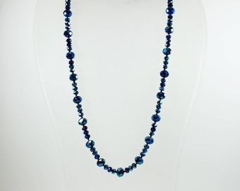Mid Century Style (1933-1965) Sterling Silver Blue Holographic Patterned Beaded Necklace