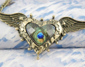 heart peacock wing fly necklace angel retro vintage antique brass chain pendant charm ON0053