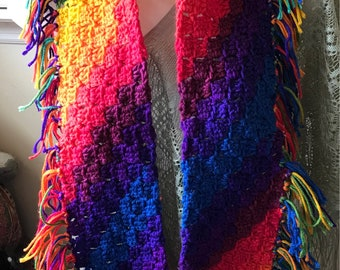 Fringed multicolored bright scarf