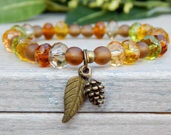 Autumn Bracelet, Fall Fashion Jewelry, Autumn Crystal Bracelet,  Leaf  Bracelet, Nature Jewelry, Fall Bracelet, Autumn Jewelry, Fall Colors