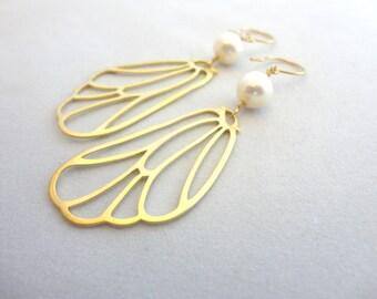 Pearl Butterfly Wing Earrings