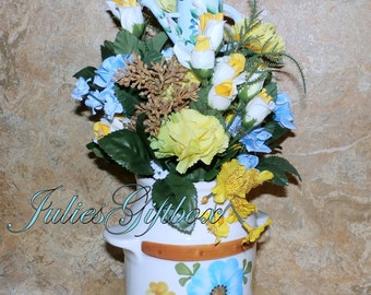 """Re-Claimed FTD Ceramic Milk Can-NEW Silk Floral Arrangement 14.5""""H x 8""""W Wood Water Can Plant Pick"""