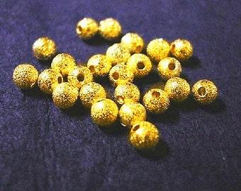 30pc golden 3mm stardust round beads-2565
