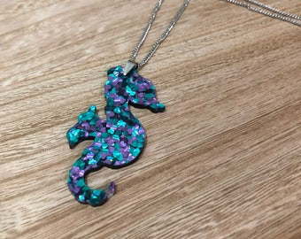 Seahorse pendant necklace- Teal and Purple acrylic with chain