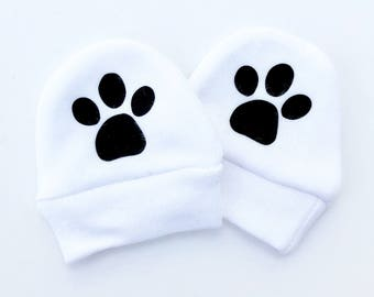 Paw Print Baby Mittens, Baby Scratch Mitts, Baby Cub, No Scratch, Newborn Mittens, Cute Baby Gift, New Arrival Mittens, New Baby Shower Gift