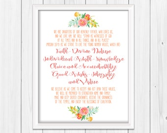 Young Women Theme, LDS Mutual Theme, Ask in Faith, Mormon Youth, Theme Poster 11 x 14, Young Women Values