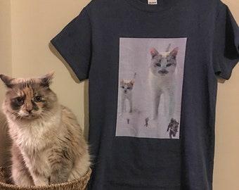 heren tshirt Star Wars thema met katten en rebellen aangaande de slag van Hoth