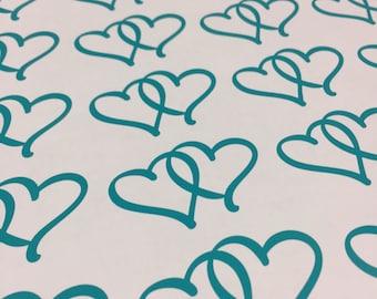 10 Pack Heart Decals - Interlocked Heart Stickers - Pack of 10 Stickers - Double Hearts Decal Locked Heart Stickers - Love