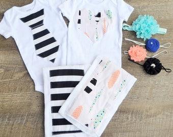 Twin Baby Onesie Burp Cloth Set-  Baby Shower Gift- Baby Onesie-