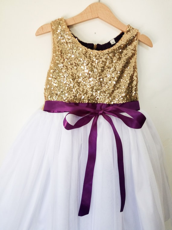 Flower girls dress gold white and purple gold sequined like this item mightylinksfo