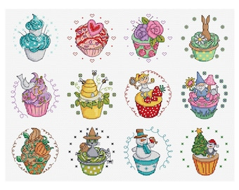 Another Year in Cupcakes - Set of 12 - Durene J Cross Stitch Patterns - DJXS 2203