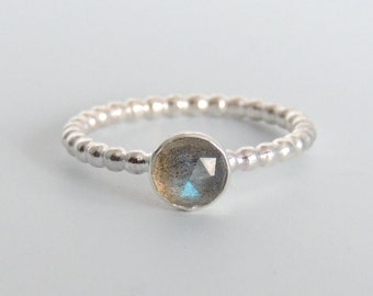 Rose Cut Labradorite Ring Sterling Silver Gemstone Solitaire Ring
