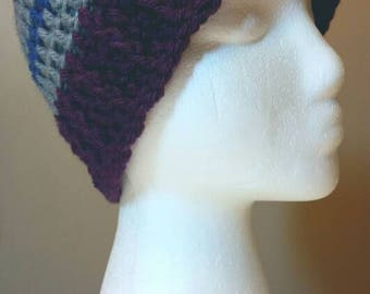 Purple Blue and Grey Striped Crocheted Beanie Hat
