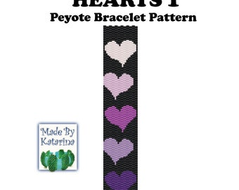 Peyote Pattern - Hearts 1 - INSTANT DOWNLOAD PDF - Peyote Stitch Bracelet  Pattern - Two Drop Even Peyote - Peyote Hearts Pattern