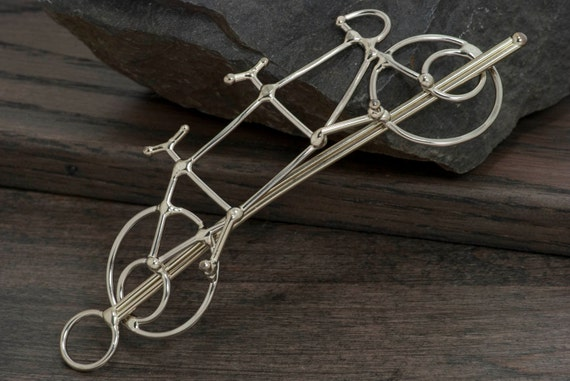 Tandem bicycle hair slide or bike hair barrette also used as shawl pin or scarf pin