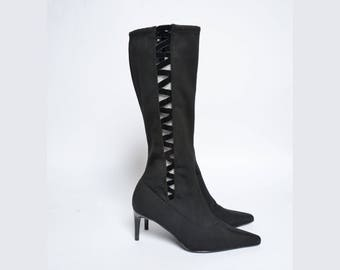 Vintage 90's Black Sock Boots with Zippers and See Through Sides