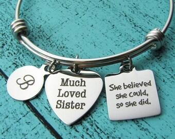 sister gift, sister birthday gift bracelet, anniversary survivor gift, she believed she could, graduation congrats gift, encouragement