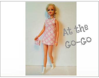 TWIGGY Doll Clothes - GO-GO Mod Dress, Purse and Jewelry - fits Francie, Casey - Custom Fashion - by dolls4emma