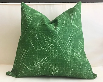 Outdoor Pillow Cover, Green and White Outdoor Pillow Cover, ALFONSO