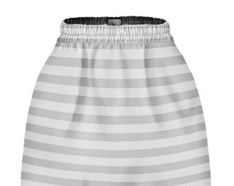 Gray-white stripes skirt.