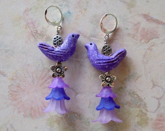 Purple Clay Bird and Flower Boho Earrings (4305)
