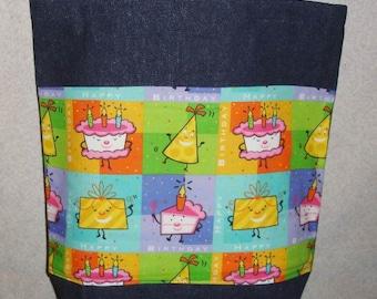 New Large Handmade Happy Birthday Denim Tote Bag