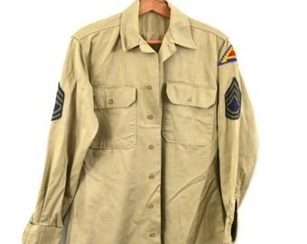 Vintage Army Shirt Khaki Army Shirt 7th Army Patch Military Shirt Army Vietnam Era Shirt