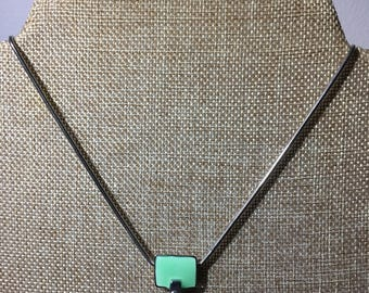 Vintage Green Enamelled Geometric Necklace and Earring Set - Signed Passion