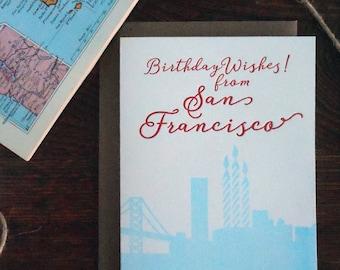 letterpress birthday wishes from san francisco california san fran blue red happy birthay skyline candles bridge