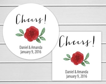 Cheers Floral Stickers, Alcohol Wedding Favor Labels, Customizable Wedding Stickers (#255)