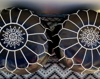 SPRING SALE ** Set of 2 Moroccan Poufs, Handmade natural Leather pouf, Ottoman pouf Home decor, floor pouf, footstool, Black