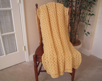"Crocheted Handmade Full Adult Size Afghan/Blanket/Throw, Cornmeal, 46""W x 62""L"