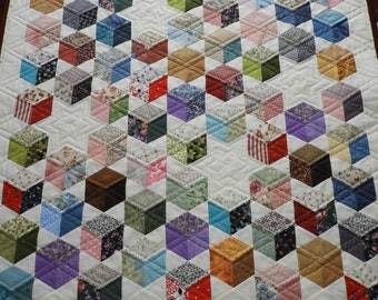 Lap or Baby Quilt , Floating 3D Blocks, Scrappy Patchwork, Pieced and Quilted