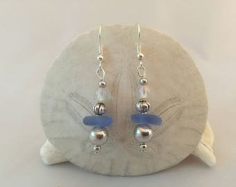 Cornflower blue sea glass earrings, sea glass jewelry, beach glass jewelry, sea glass earrings
