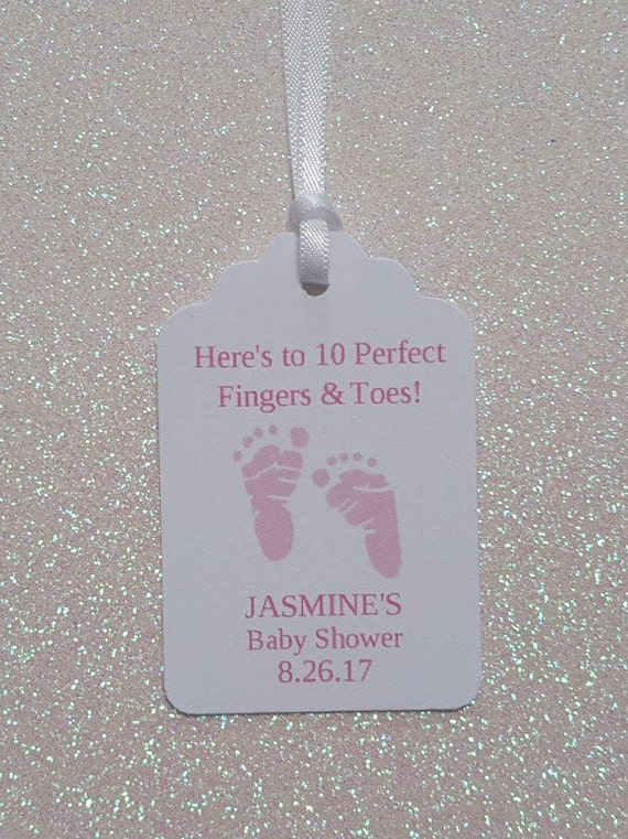 Nail Polish Baby Shower Favor Tags Coral Baby Shower Gift