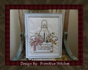 The Christmas Box--Primitive Stitchery E-PATTERN by Primitive Stitches-Instant Download