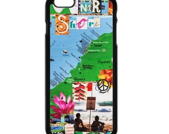iPhone 6s/6, iPhone 6s/6 Plus Case, MAP of NORTH SHORE, Pipe, Hawaii, Beach, Tropical, Aloha, Collage, Avail. with Black or White case color