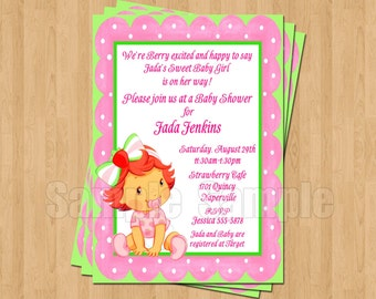 Strawberry Shortcake Baby Shower Invitations JPEG Cute Unique Adorable