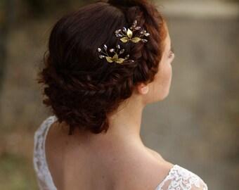 Gold leaf hair pins Gold leaf headpiece Leaf bridal hair comb Bridal leaf hair pins Gold wedding hair pins Bridal hair pins Bridal headpiece