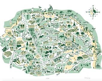 Norfolk Map Print: Illustrated Limited Edition Screenprint