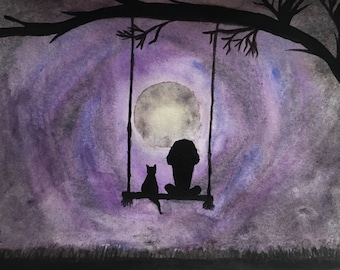 Girl and Cat Framed Watercolor Painting