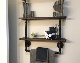 Bathroom shelf with towel rack 3 tier made from Reclaimed Wood and Industrial Pipe Industrial Shabby Chic Steampunk Hampton Industrial